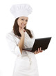 cook woman in white uniform and hat with laptop