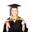 happy female graduate isolated on white background