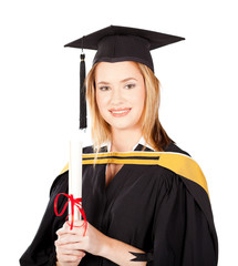 beautiful female university graduate portrait