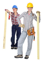 Handywomen on white background