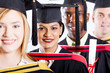 group of multiracial college graduates closeup portrait