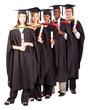 group of graduates full length portrait on white