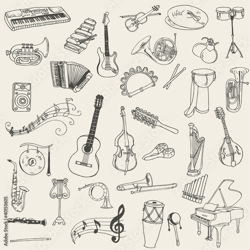 Set of Music Instruments - hand drawn in vector - 40150605