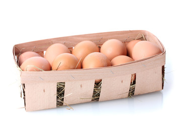 brown eggs in box isolated on white