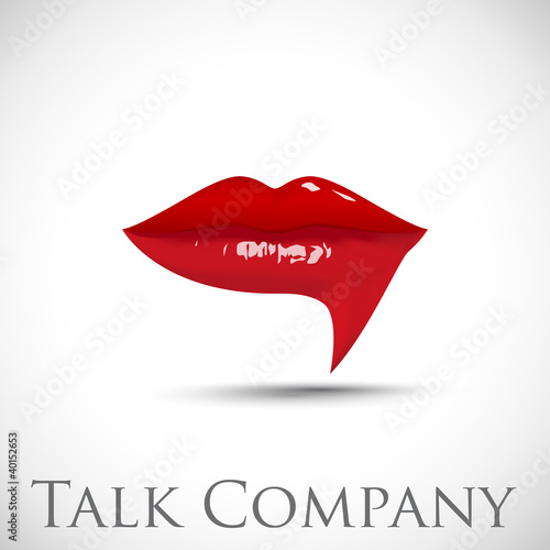 Logo talking, red lips # Vector