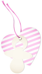 Hangtag Pacifier & Heart Stripes Pink Bow