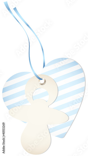 Hangtag Pacifier & Heart Stripes Blue Bow