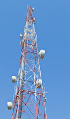 Telecommunication mast with microwave link and TV transmitter an