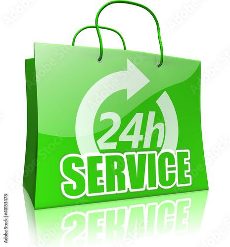 Einkaufstasche 24-Sunden-Service, grün