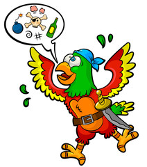 funny pirate parrot