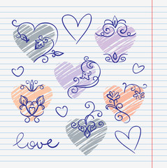 Hand-drawn love doodles in sketchbook
