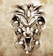Sketch of tattoo art, gargoyle devil mask