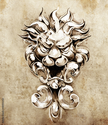 Sketch of tattoo art, gargoyle lion illustration