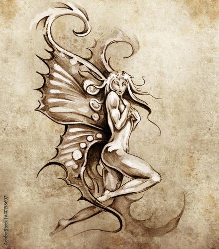 skizze-der-tatowierungskunst-fantasiefee-nackte-illustration