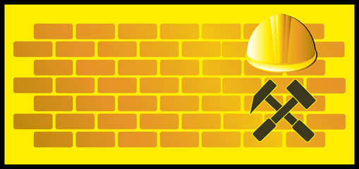 construction background with bricks, hammer and helmet