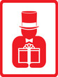 red icon with man in hat hold gift