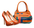 Pair of women shoes and handbag over white
