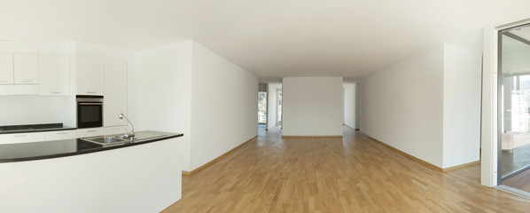 new apartment panoramic interior, empty room
