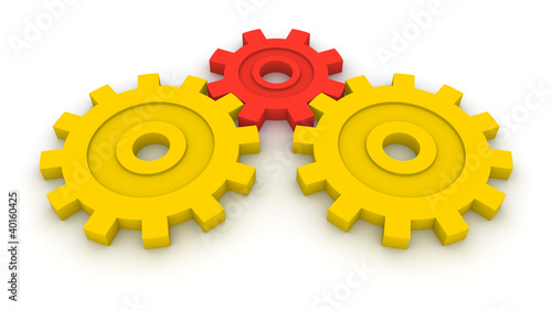 Three gears. Concept of B2B.