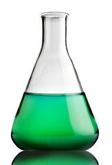 Laboratory bottle with green liquid inside (with clipping path)