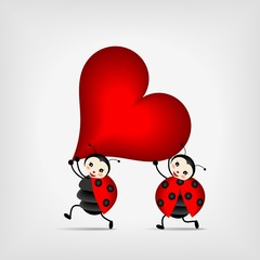 ladybugs carrying big red heart