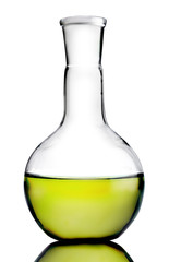 Laboratory bottle with yellow liquid inside (with clipping path)