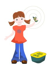 girl with GPS and geocache