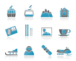 Ski Track and sport icons - vector icon set