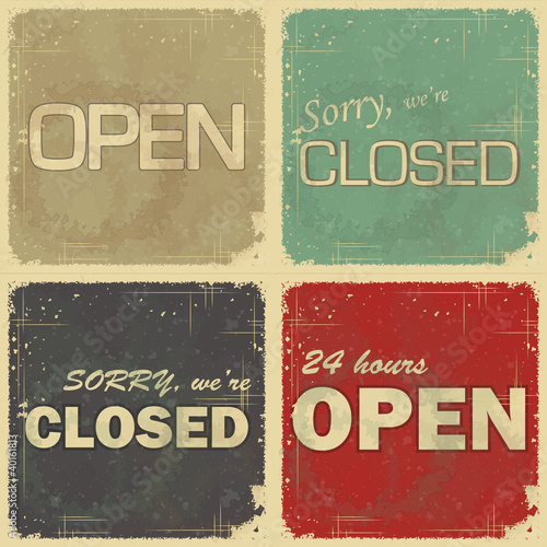 set of signs: open - closed - 24 hours