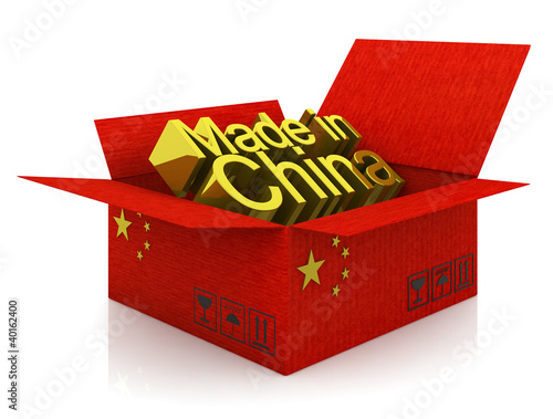 Cargoboard box with Chinese flag and words
