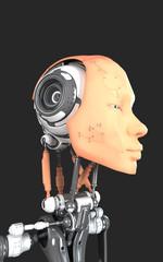 Stylish cyber head isolated on black