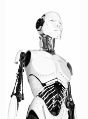 Unusual white cyborg with opened parts of body