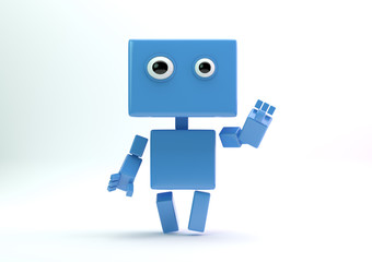 Lovely cartoonish robot android greeting