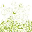 Floral, Frühling, grün, Pflanze, abstrakt, Schmetterlinge, Swirl