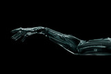 Black futuristic hand on isolated on black background