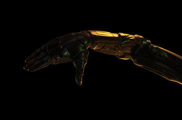 Cyber hand with golden light effect