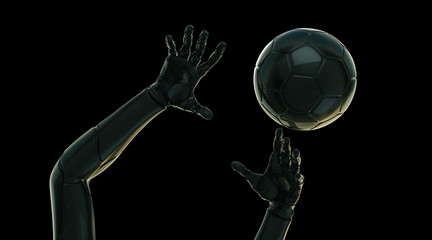 Futuristic hands with ball