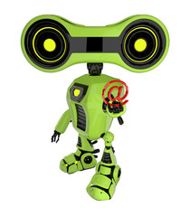 Green stylish robotic toy holds red symbol