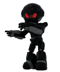 Cool black robot with red angry eyes pointing fingers