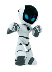 Cute white robot with blue eyes