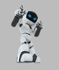 Cute white robot with blue eyes pointing the finger