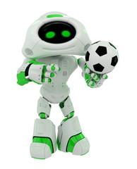 Cute robot holds ball