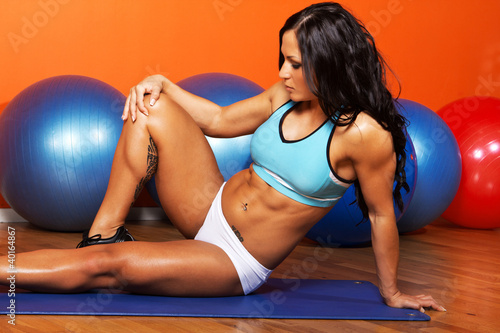 Sexy athlete is during her training
