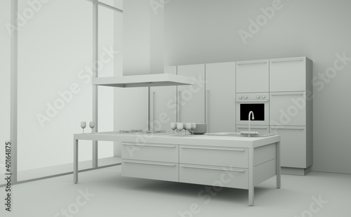 Modell - Küche vor Fenster