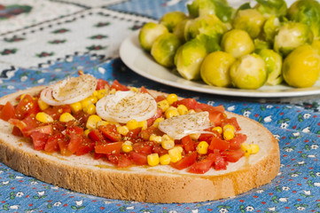 bruschetta with tomato, onion and corn on blue tablecloth