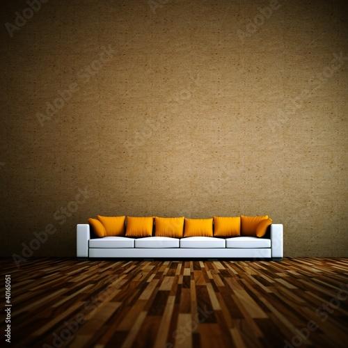 Wohndesign - Sofa vor brauner Wand