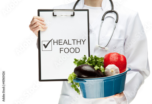 Doctor advising healthy food