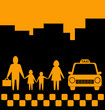 city background with family and taxi car