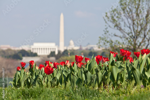 Washington DC Skyline with Lincoln Memorial, Washington Monument