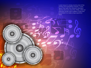 abstract music theme background with loudspeakers